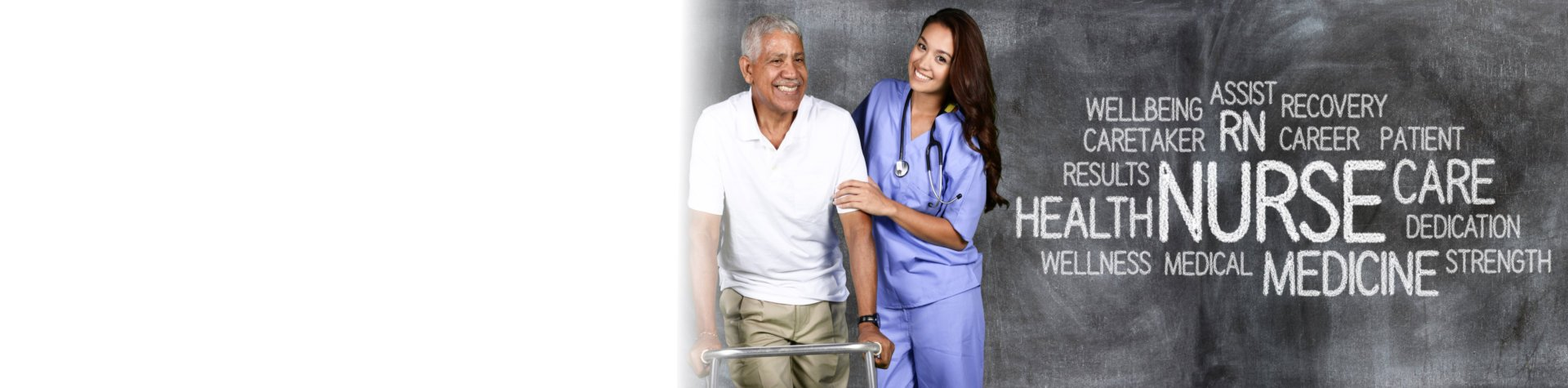 elderly man and caregiver smiling